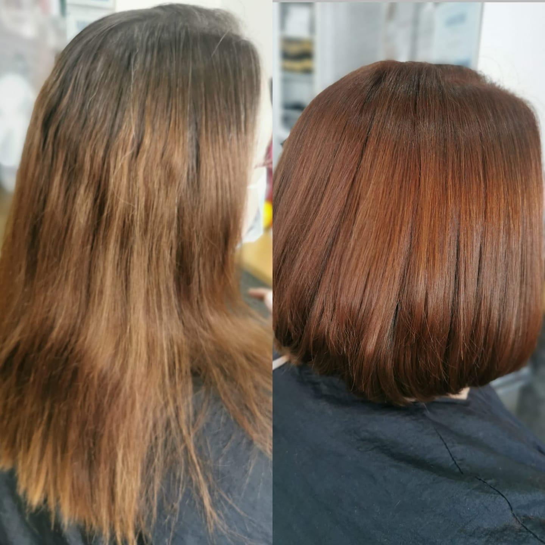 Dark Auburn Copper Red Hair Colour and Bob Haircut Transformation Blyth Hairdressers Hair at Ridley Park 01670365009