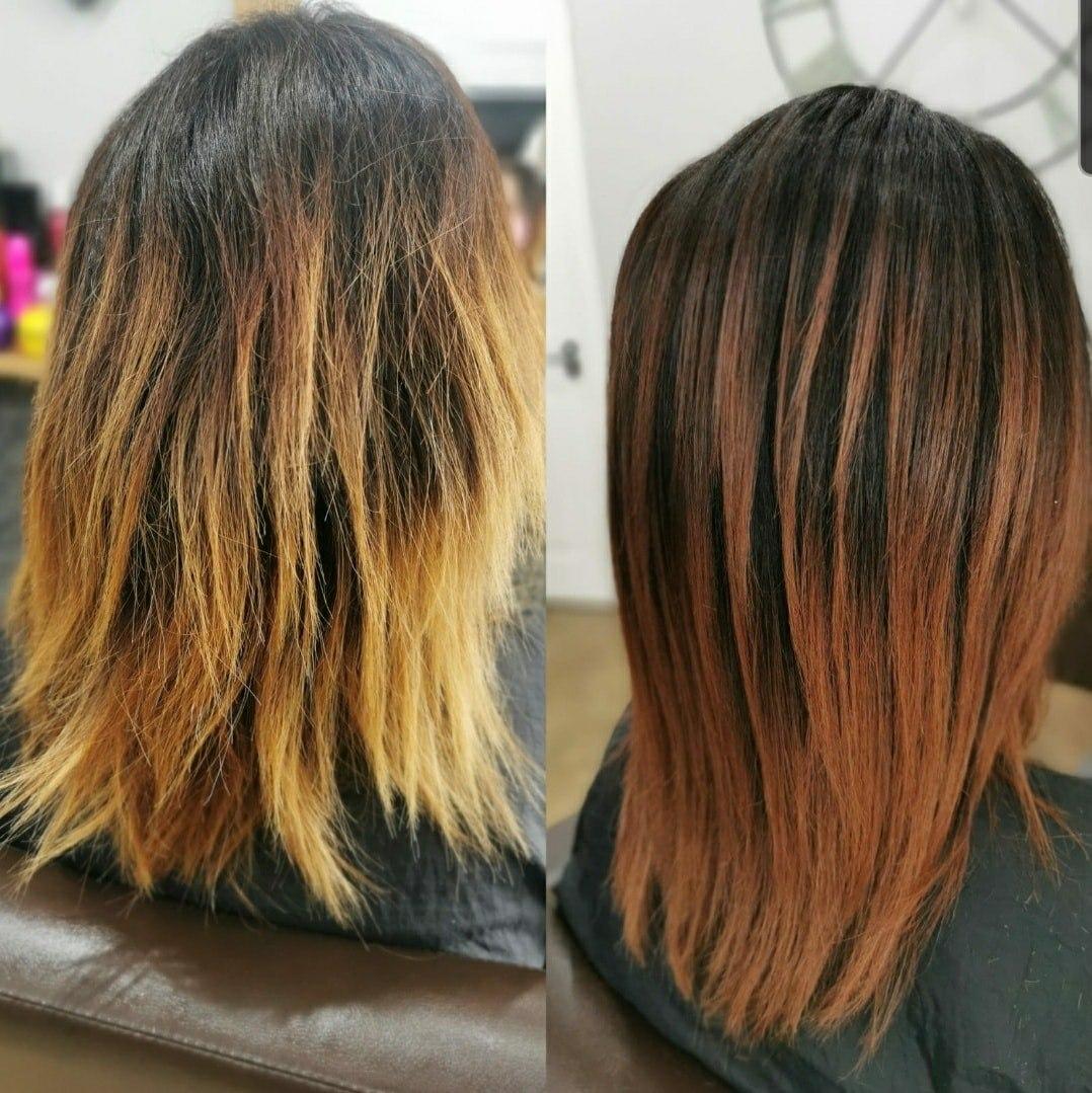 Toned Down Copper Hair Colour by Hair at Ridley Park